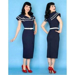 Bettie Page Navy Dress